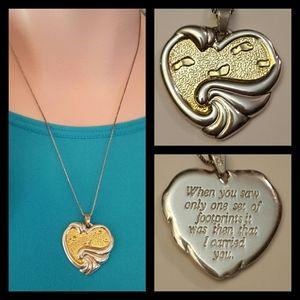 Vintage Gorham Sterling Heart Footprints Necklace